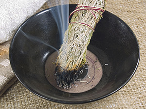 Smudging is used to clear negativity and unwanted spirits from a space